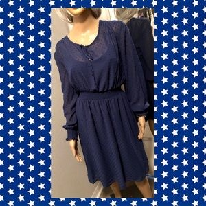 Long Sleeve Midi Dress with Gathered Waist Sz XL